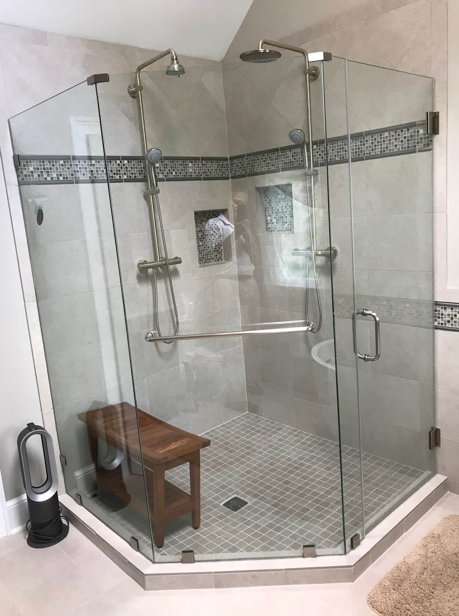 heavy glass shower enclosure